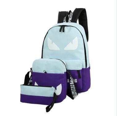 JOYPESSIE Sets girl Luminous women Backpacks Nylon School Bags fluorescence Backpack For Teenager Book bag mochila light bag