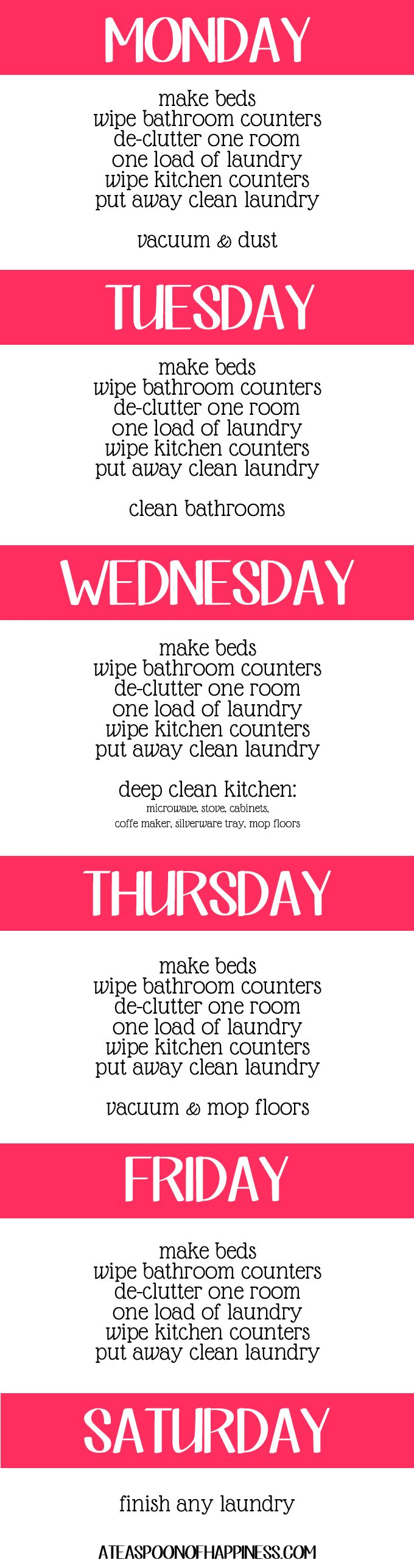 Daily Cleaning Schedule - The Pinterest Challenge Part 2 - A Teaspoon of Happiness: Cleaning Organization, Daily Cleaning Schedules, Cleaning Schedule I, Cleaning Lists, Cleaning Ideas, Cleaning Organizing, Clean House, Cleaning Tips