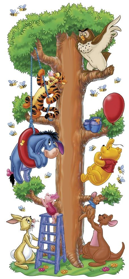 Tigger, Eeyore, piglet, rabbit, owl, Pooh, Roo and Kanga
