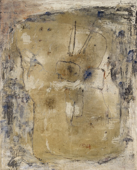 Emil Schumacher  Belua I, 1958   Oil, partly scratched, on canvas. 120 x 96.5 cm