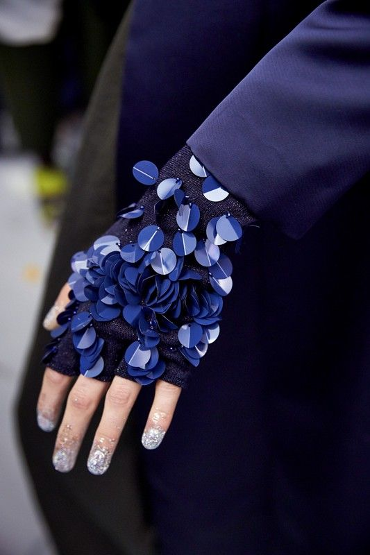 Sequin fingerless gloves and glittered fingers at Erika Cavallini AW15 MFW. See more here: http://www.dazeddigital.com/fashion/article/23912/1/erika-cavallini-aw15