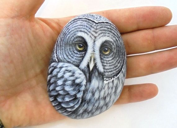 Great Gray Owl Painting On Sea Stone by RockArtAttack !