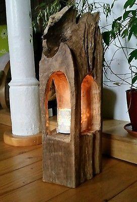 Windlicht Laterne aus Holzbalken Alt Eichenbalken Stele Dekosäule Teelichthalter