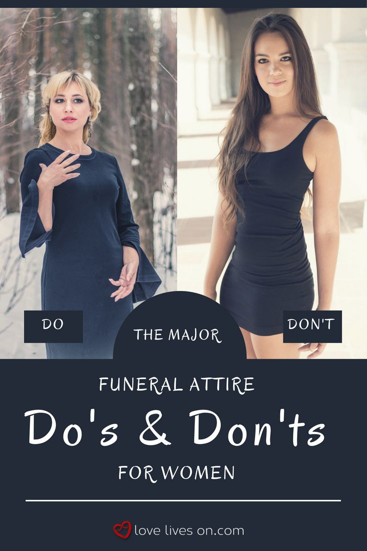 Funeral Outfits for Women | Your Ultimate Funeral Attire Guide. Photo examples illustrating the major do's and dont's for appropriate funeral attire and what to make sure you avoid when deciding what to wear to a funeral.
