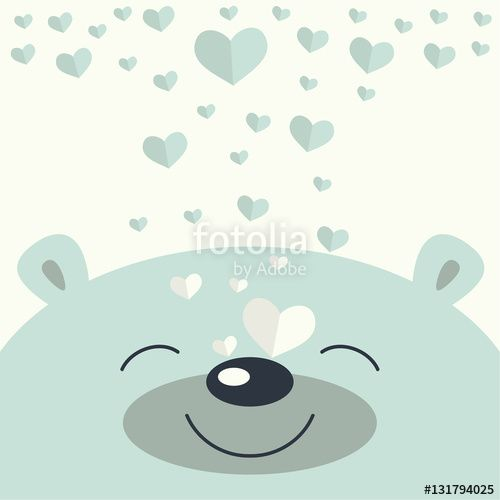 Wektor: The cover design.Smiling little polar bear's face on the white background. The decorative hearts are falling on its face.