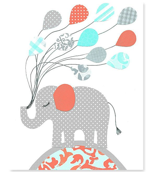 Aqua éléphant gris corail pépinière décor par SweetPeaNurseryArt, $15.00