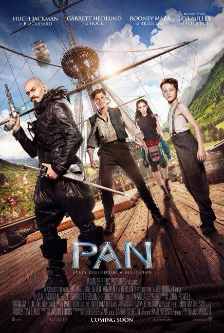 Pan (2015) w/Hugh Jackman, Garrett Hedlund, Mara Rooney and Levi Miller [watched January 1, 2016]