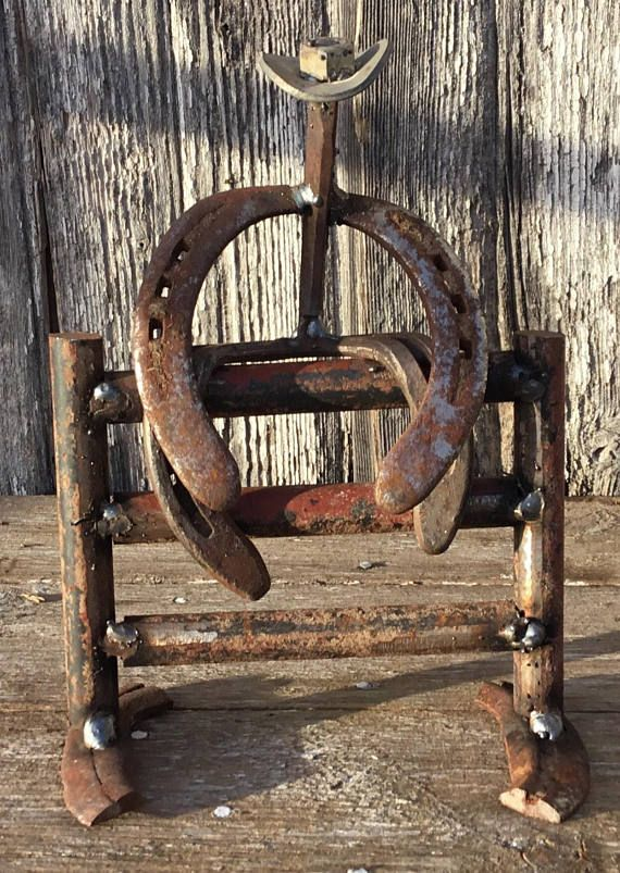 Fence Rider Horseshoe Cowboy Sculpture Horseshoe Decor Welded