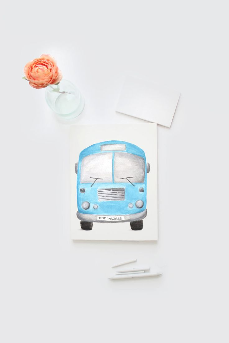 Watercolor Just Married Little Bus card by Papierscharmants