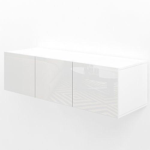 Tv Lowboard 120cm Weiss Hochglanz Sideboard Wandschrank