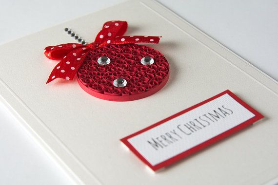 Unique Elegant Beautiful Handmade Christmas Greeting Card Christmas Ornament Red Quilled Xmas Gift Etsy by PaperParadisePL