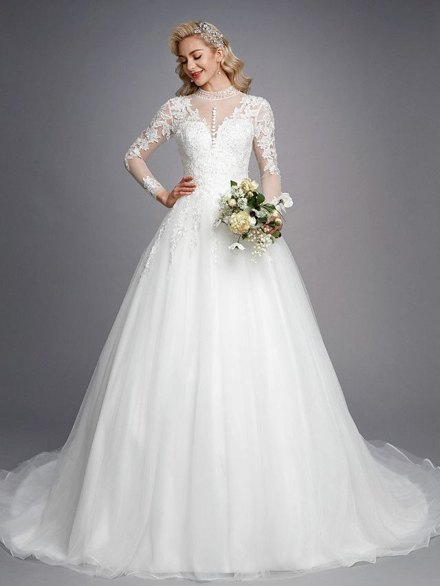 75e2b4c63ef   229.99  Priyanka Chopra Style Ball Gown High Neck Chapel Train Lace   Tulle  Made-To-Measure Wedding Dresses with Beading   Appliques by LAN TING BRIDE®  ...