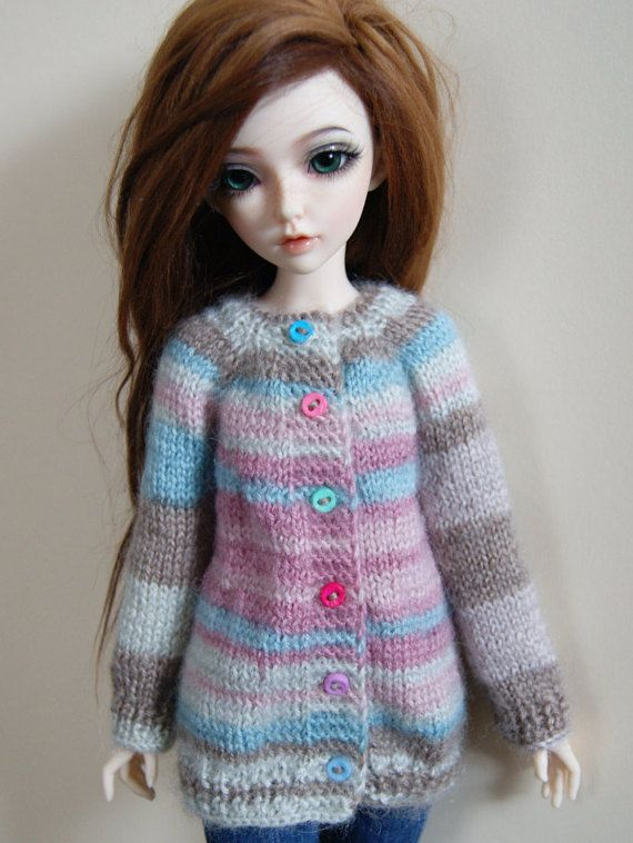 Knitted mohair cardigan for Minifee MSD BJD 1/4. by CocoDolls