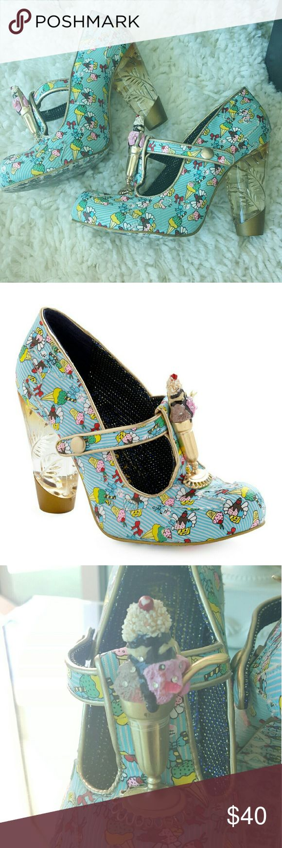 Irregular Choice Sundae Best Heel Adorable and quirky, Ice Cream pumps from Sundae Best Heel. Featuring ice cream print details, a quick button closure, ice cream figure at T-strao and clear amber hued heels.  Lightly used, some color wear to the bottom of sole as pictured. No damage for wear to the exterior of the rest of the shoes Irregular Choice Shoes Heels