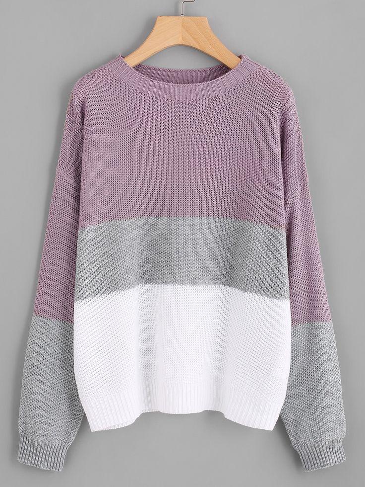 Multicolor Round Neck Drop Shoulder Loose Sweater