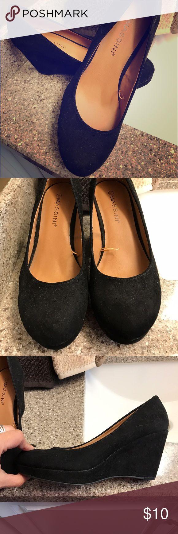 Black suede wedges Worn once. Black suede wedge heel. Shoes Wedges