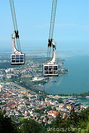 The cable car to the Pfaender mountain (Bregenz, Austria). In the background is the Lake Constance