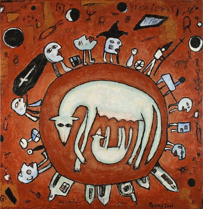 Wolf 's mother, 2001, silicone on canvas, 150 x 145 cm
