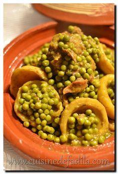 Tajine de boeuf aux petits pois et fonds d'artichaut - cuisine de Fadila