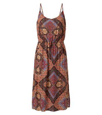 Brown Patchwork Tile Print Strappy Midi Dress