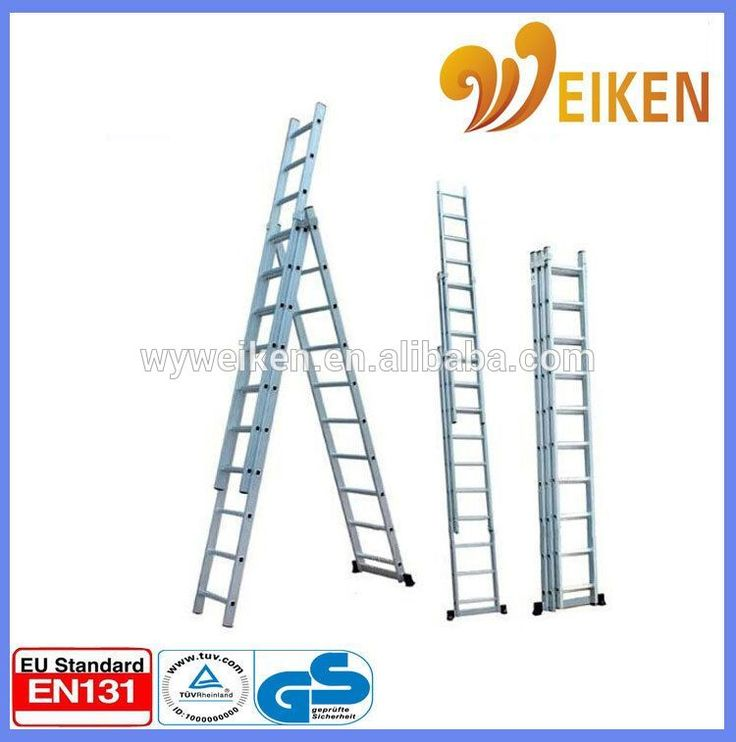 compact aluminum folding ladder/ triple extension 14 foot step ladder