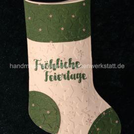 Socken Sterne, gestaltet mit den Thinlits Formen geschmückter Stiefel von Stampin Up