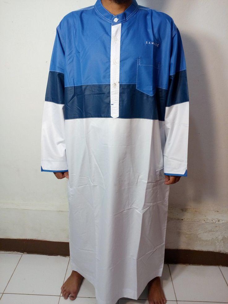 Baju Kurung Laki-Baju Gamis Selutut-Baju Jubah Pria Warna putih biru biru muda-Baju Muslim Samase