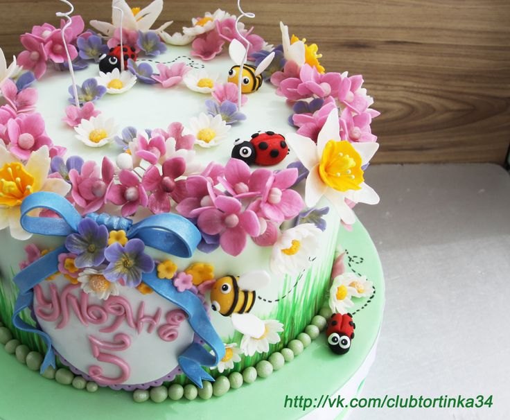 """Торт """"Цветочки и букашки"""""""