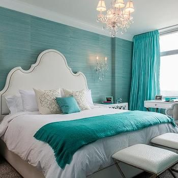 Turquoise Blue Bedroom with White Mirror Nightstands SAVED BY WENDY SIMMONS  LOVE LOVE LOVE THIS POP OF COLOR AWESOME MASTER