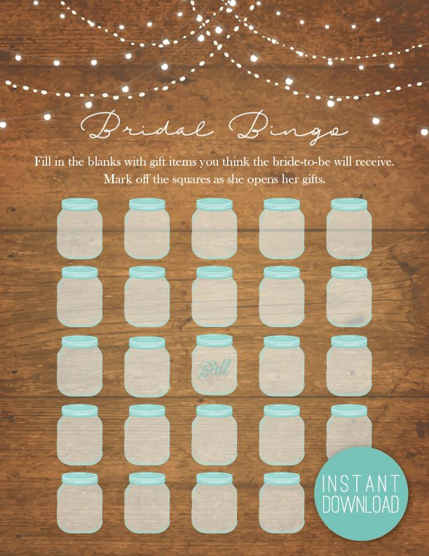 wedding shower poem ideas%0A Rustic Lights Bridal Bingo   Bridal Shower Games   Shower Bingo   Popular  Shower Games   Rustic  Country Bridal  Mason Jars  Fairy Lights