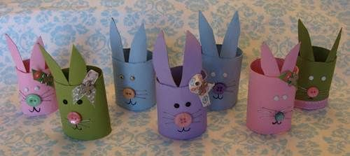Easter Bunny Crafts with Cardboard Tubes