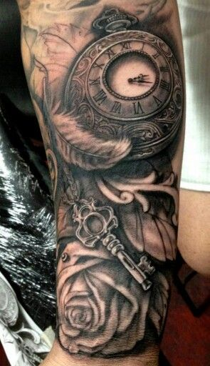 Pocket watch, key, feather, and roses