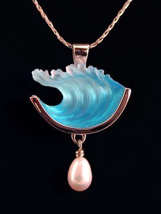 Wave Pearl Pendant by Max Bezak...his designs combine lost wax cast glass, precious metals and fine gemstones.