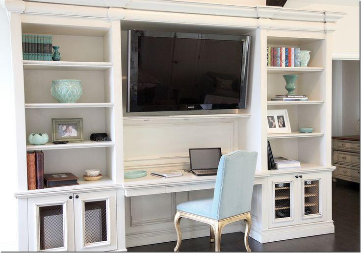 The media center/desk in the master bedroom.  Chair is from Ralph Lauren – with vintage turquoise velvet.