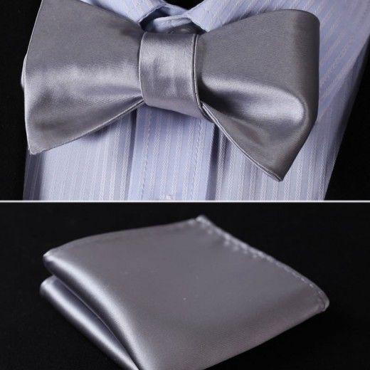 Elegantný hodvábny set - motýlik a vreckovka, v svetlo sivej farbe