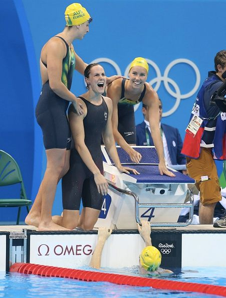 #RIO2016 - Best of Day 1 - Emma McKeon Brittany Elmslie Bronte Campbell and Cate Campbell of Australia celebrate victory after the final of 4x100m freestyle relay at Olympic...