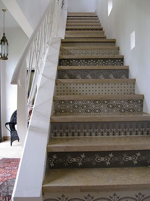 stenciled: Decor, Ideas, Moroccan Stencils, Stairs Risers, Painting Stairs, House, Staircas, Design Studios, Stencils Stairs