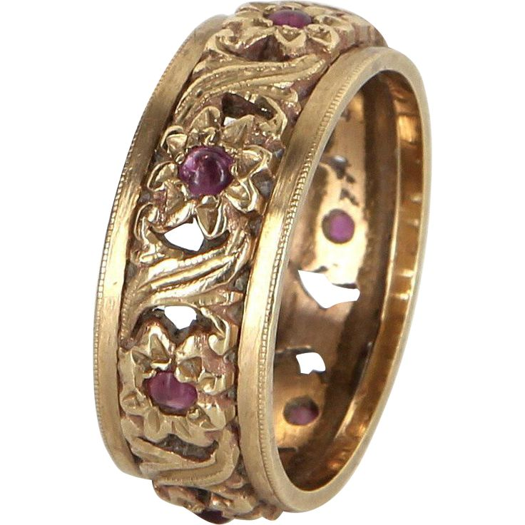 Flower Eternity Ring Sz 7 1/2 Ruby Vintage 14 Karat Yellow Gold Estate Fine Jewelry