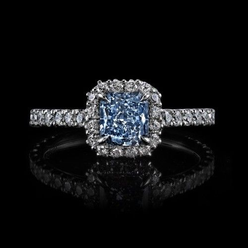 Intense Natural Fancy Blue Diamond Ring. 3.10 carats. Alexis Diamond House