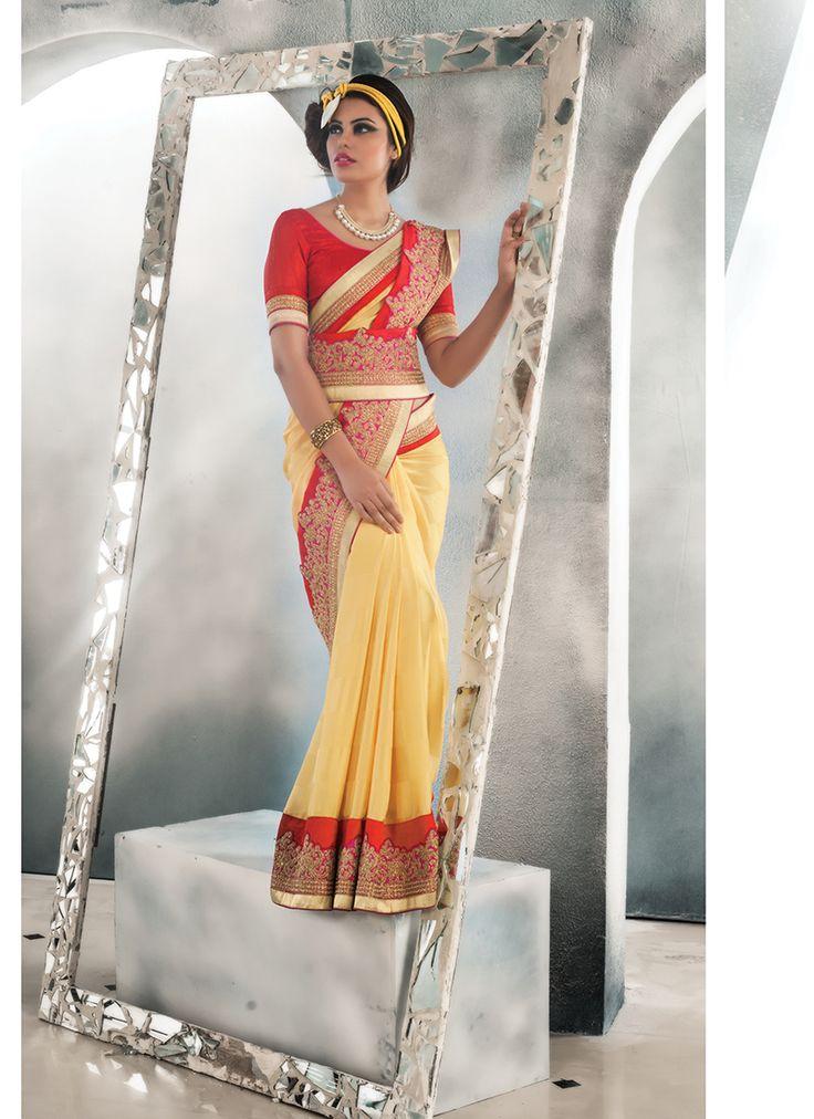 Yellow Bulk Designer Saree With Lace Border Work