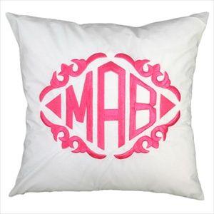 monograms: Monograms Style, Gifts Ideas, Yellow Bedrooms, White Throw Pillows, Monograms Pillows, Dorm Rooms, Decor Pillows, Sofas Pillows, Wedding Gifts