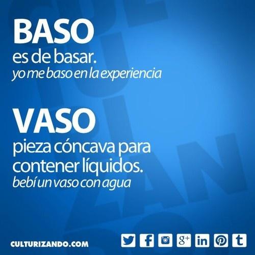 «baso» es de basar (yo me baso en la experiencia); «vaso» pieza cóncava para contener líquidos (bebí un vaso con agua).