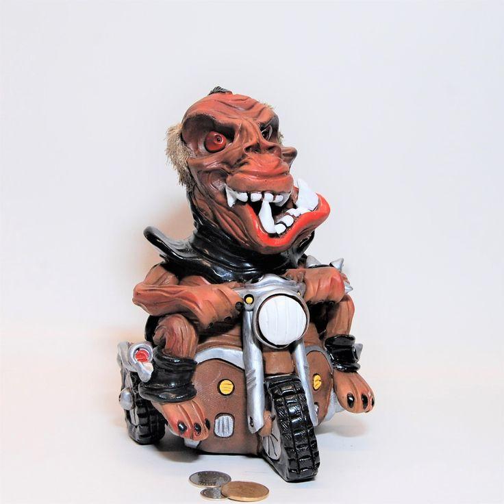 "Piggy bank ""Monster on a Harley Davidson"",coin bank . Money bank, vintage piggy bank. by WonderlandstoreArt on Etsy"