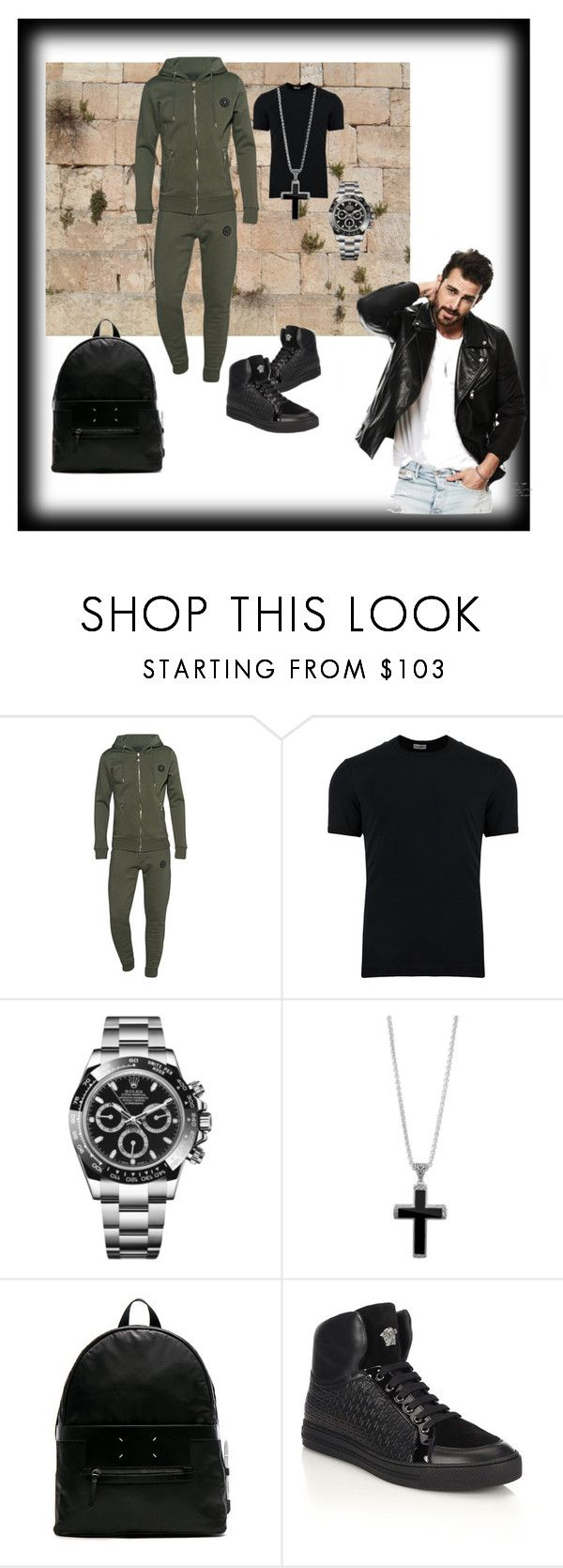 """""""First men's look"""" by swannyreign ❤ liked on Polyvore featuring Dolce&Gabbana, Rolex, John Hardy, Maison Margiela, Versace, men's fashion and menswear"""