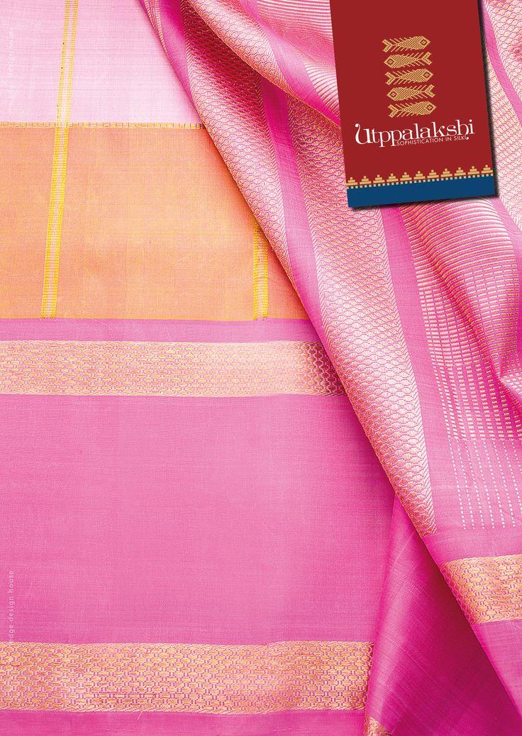 Kattam Saree with beautiful pink and orange combination.  Stand out from the crowd. #Utppalakshi #Sareeoftheday#Silksaree#Kancheevaramsilksaree#Kanchipuramsilks #Ethinc#Indian #traditional #dress#wedding #silk #saree#craftsmanship #weaving#Chennai #boutique #vibrant#exquisit #pure #weddingsaree#sareedesign #colorful #elite