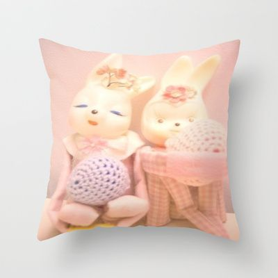 Bunny Throw Pillow by Vintage  Cuteness - $20.00