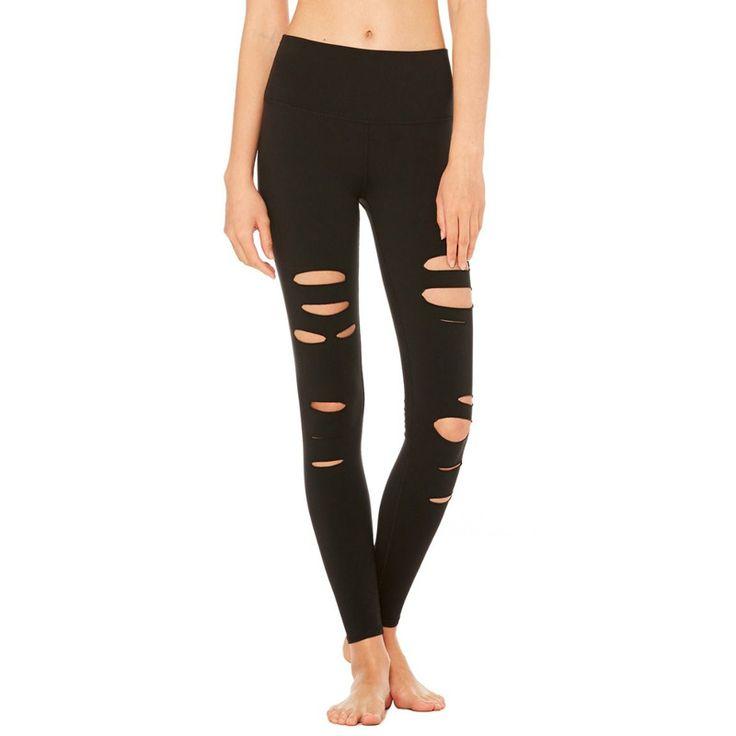Women's Sports Pants Fitness Tights Holes Leggings Gym Pants Mesh Push Up Sports Running Yoga Leggings  #Affiliate