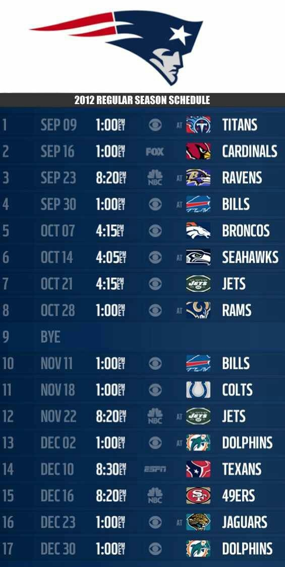New England Patriots NFL football schedule 2012