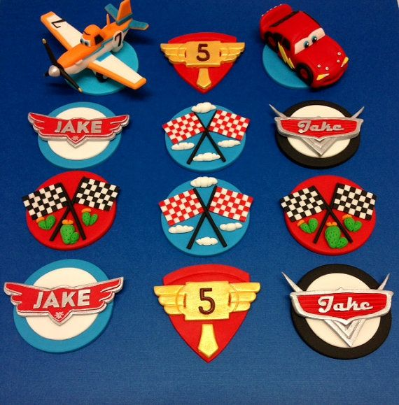 12 Planes & Cars Cupcake Toppers by CherryBayCakes on Etsy, $48.00