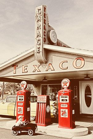 """Yes, I remember these gas stations!  The """"Attendants"""" would rush out to your car and while they were filling your tank, they would check your oil and wash your windows, ALL of them!  Part of what put the """"good"""" in """"The Good Old Days""""."""